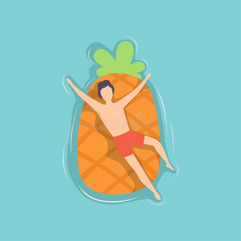 Jonge mens die op luchtmatras drijven in de vorm van ananas in zwembad, hoogste menings vectorillustratie stock illustratie