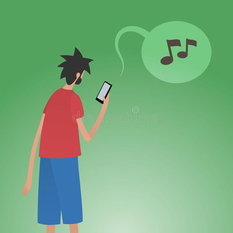 Jonge mens die smartphone voor de muziekdiensten online gebruikt vector illustratie