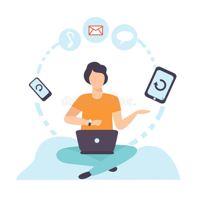 Jonge Mens die via Internet Mobiele Apparaten met behulp van, Guy Chatting, het Schrijven E-mail of het Op zoek zijn die naar Inf royalty-vrije illustratie