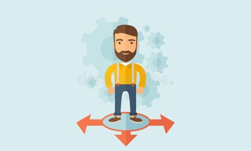 Jonge mens die zich in cirkel met 3 pijlen op bevinden vector illustratie
