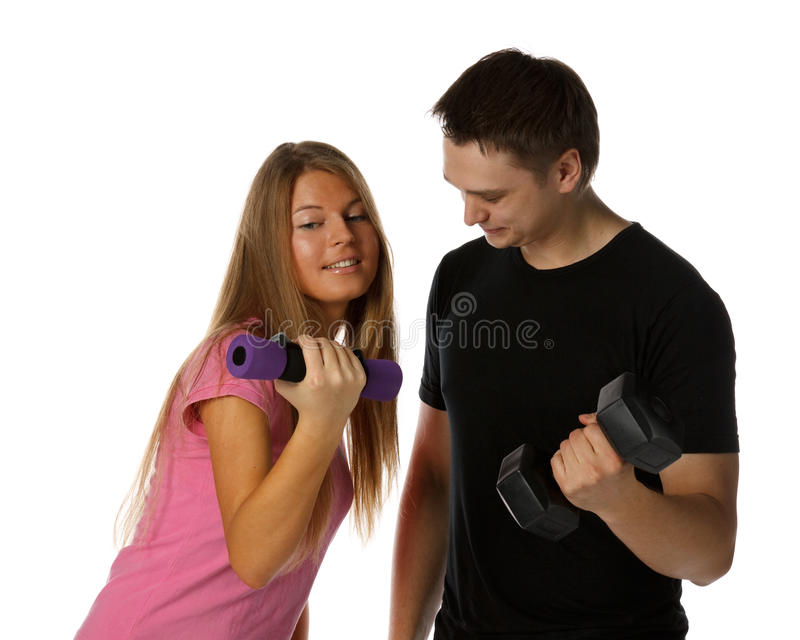 Jonge mens en het meisje met domoren stock foto's