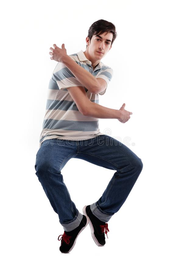 Jonge mens het dansen stock foto's