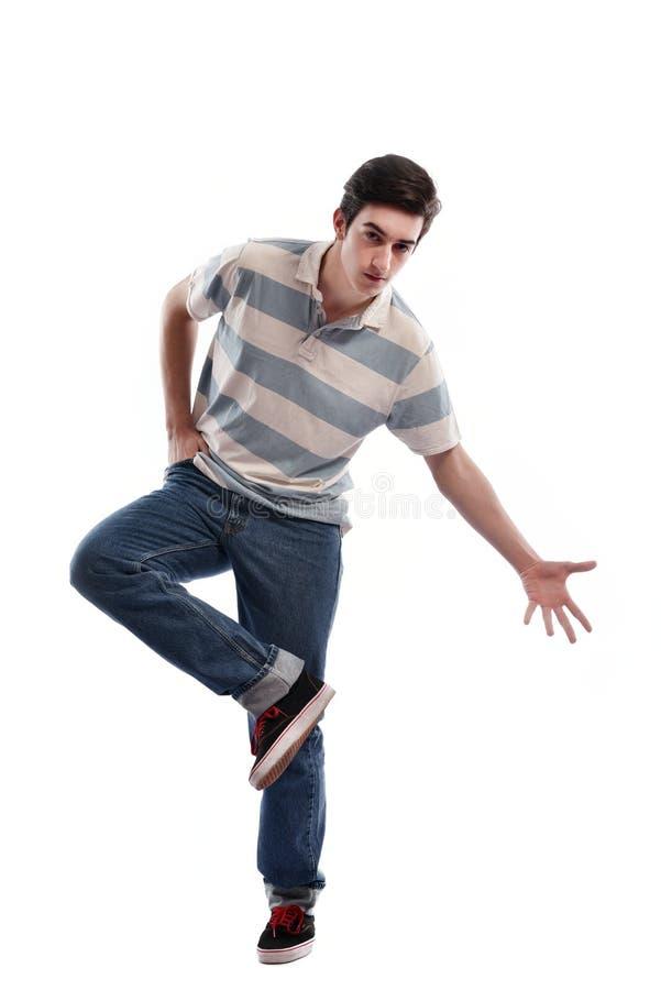 Jonge mens het dansen stock afbeeldingen