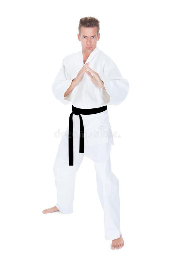 Jonge Mens het Praktizeren Karate royalty-vrije stock fotografie