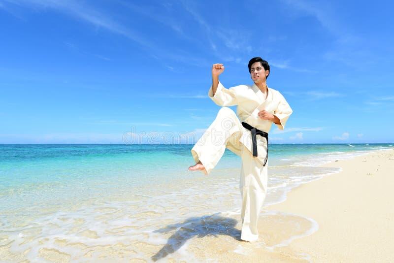 Jonge mens het praktizeren karate bij strand stock fotografie