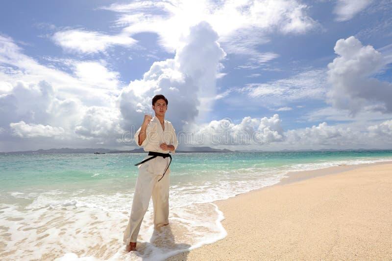 Jonge mens het praktizeren karate bij strand stock afbeelding