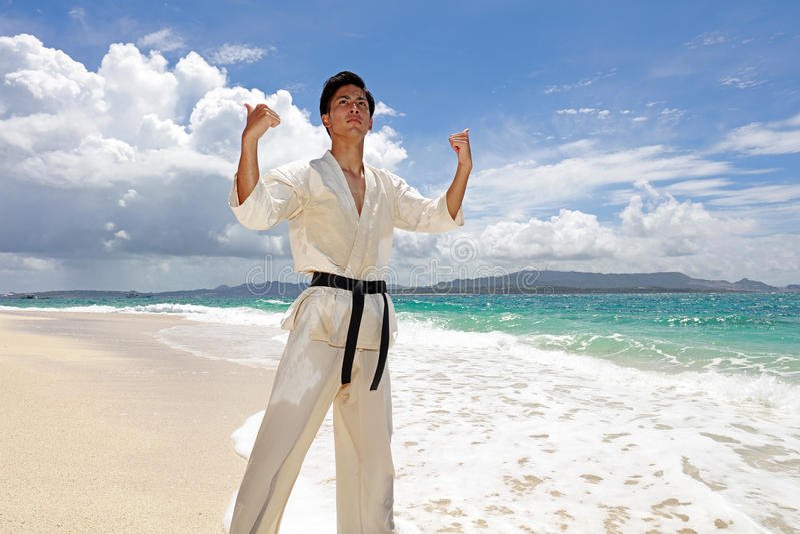 Jonge mens het praktizeren karate bij strand stock afbeeldingen