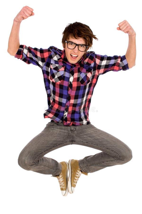 Jonge mens het springen stock foto