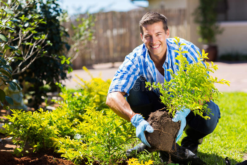 Jonge mens het tuinieren