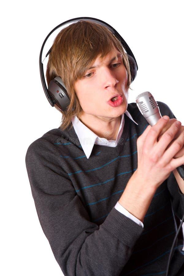 Jonge mens het zingen royalty-vrije stock afbeelding