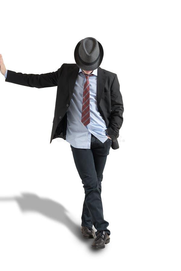 Jonge mens in hoed stock afbeelding