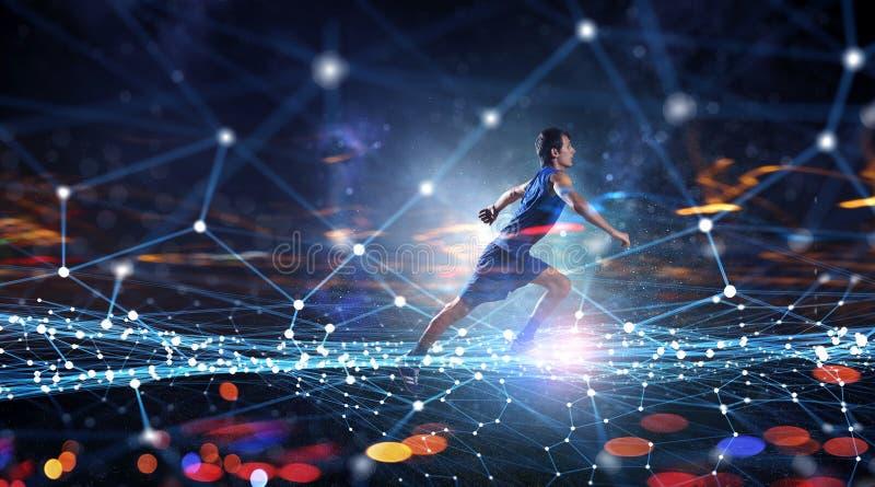 Jonge mens jogger Gemengde media stock afbeeldingen