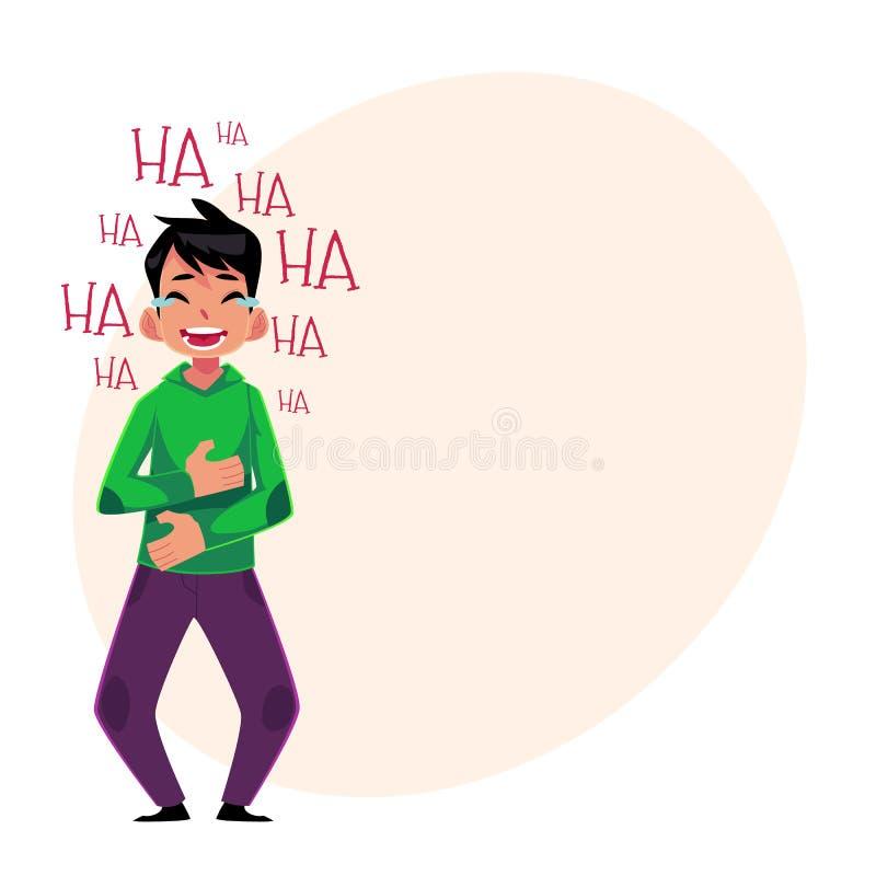 Jonge mens luid lachen uit, schreeuwend van gelach, dat maag houdt stock illustratie
