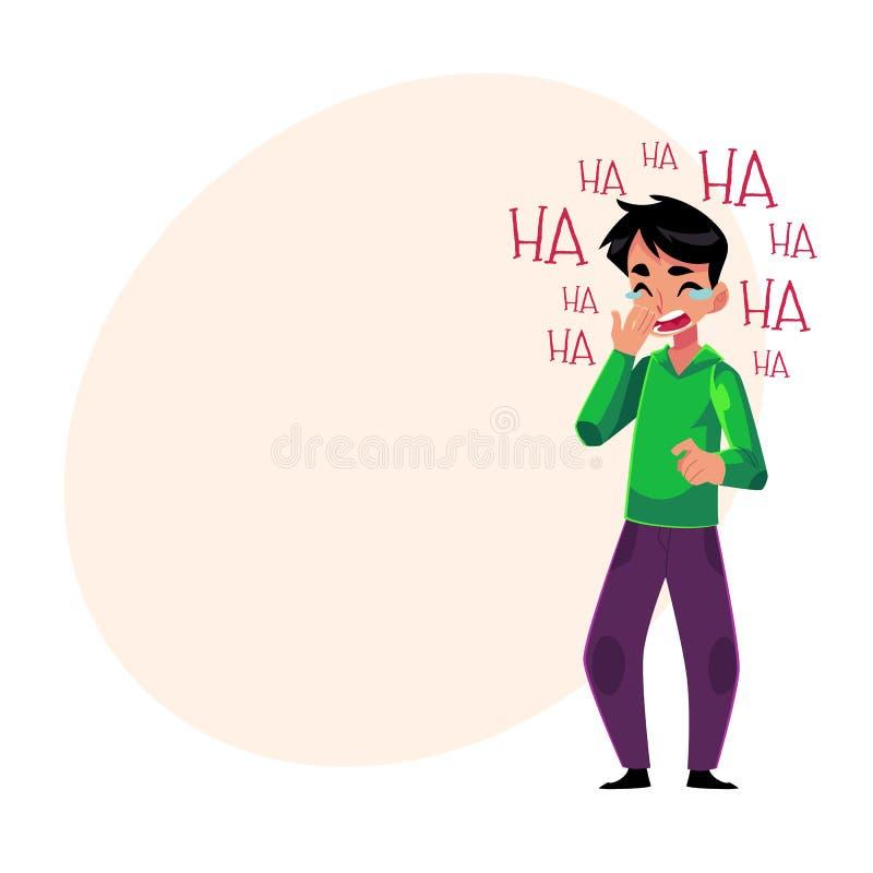Jonge mens luid lachen uit, schreeuwend van gelach, die mond houden royalty-vrije illustratie