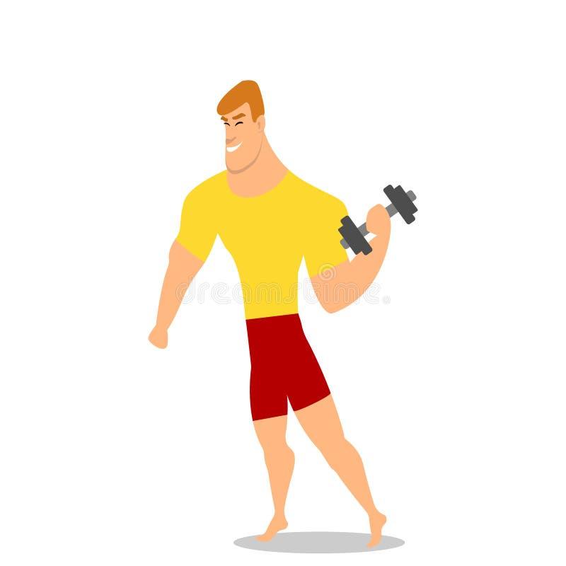Jonge mens, mannelijke bodybuilder, weightlifter doend bicep training, opleidend wapens met domoren, stock illustratie