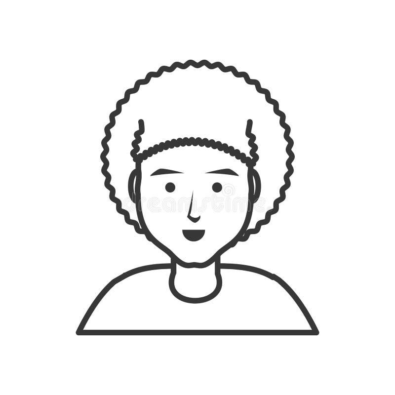Jonge mens met afrohaar royalty-vrije illustratie