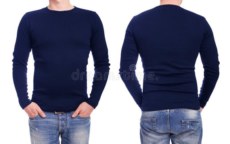 Jonge mens met blauwe t-shirt stock foto