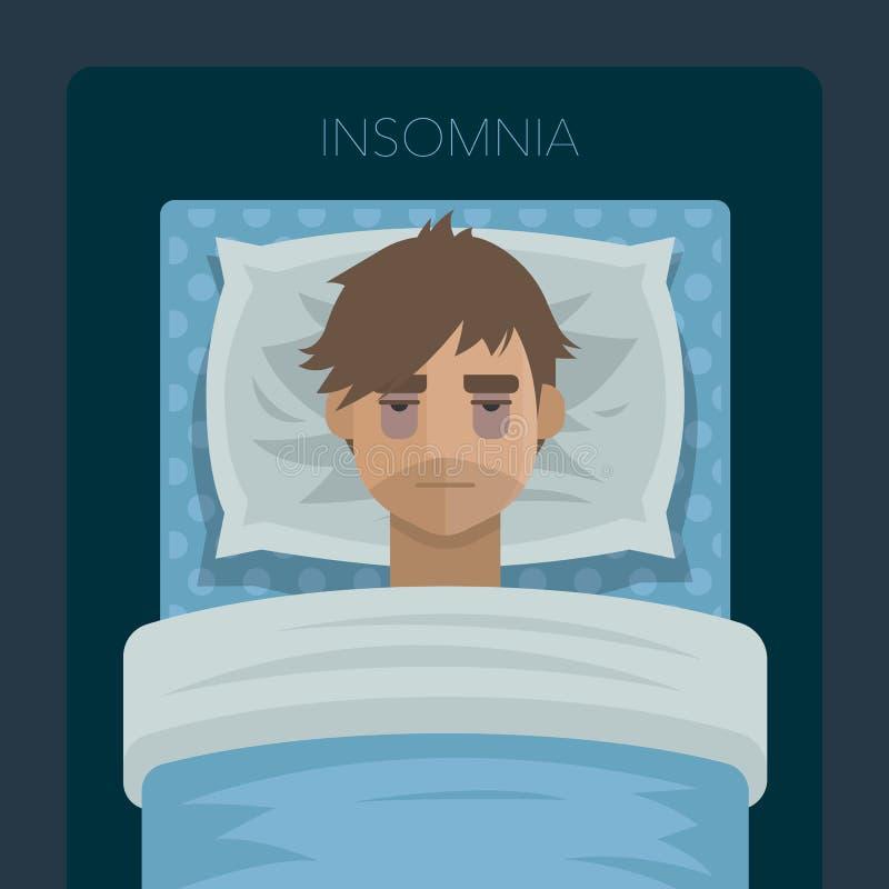 Jonge mens met de slapeloosheid van het slaapprobleem royalty-vrije illustratie