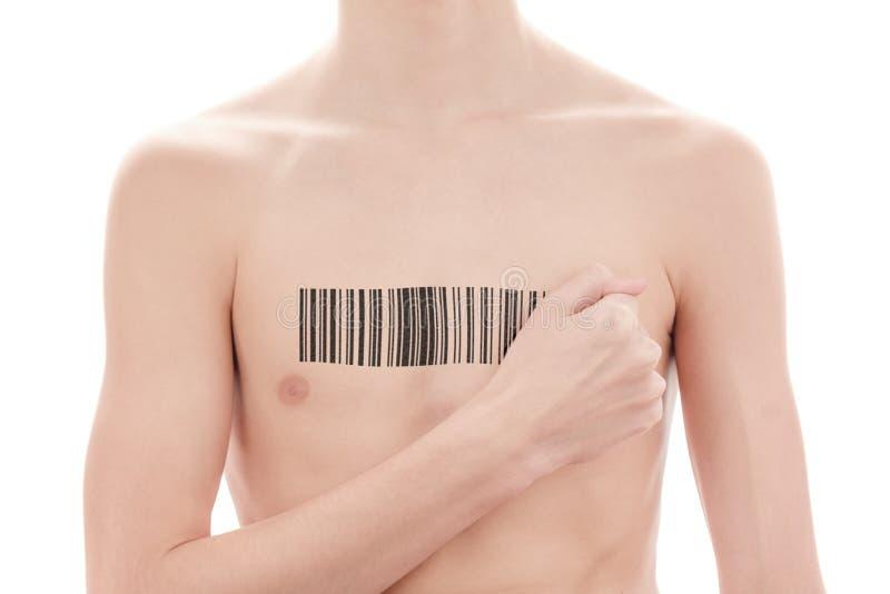Jonge mens met een streepjescode van genetische onderzoek Kloon van DNA en menselijk genoom Kunstmatige intelligentie stock afbeelding