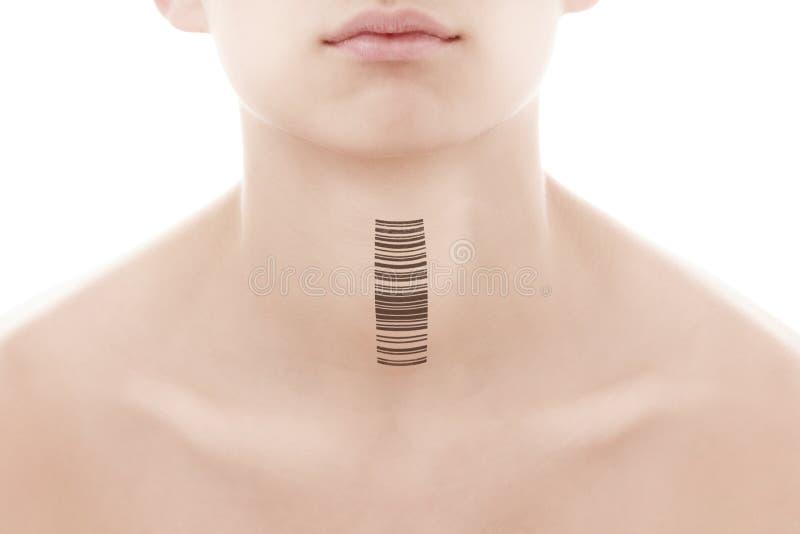 Jonge mens met een streepjescode van genetische onderzoek Kloon van DNA en menselijk genoom Kunstmatige intelligentie royalty-vrije stock afbeeldingen