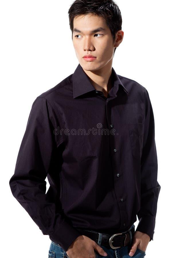 Jonge mens met gezichtsuitdrukking stock afbeelding