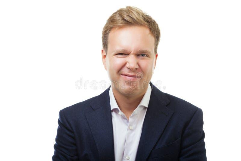 Jonge mens met grimas van afschuw royalty-vrije stock afbeeldingen