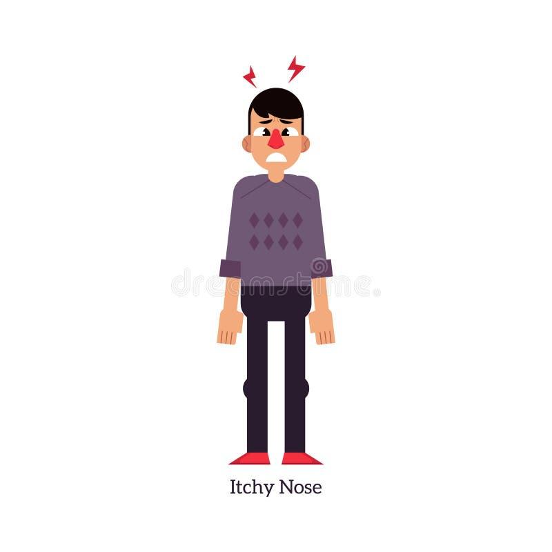 Jonge mens met jeukerige neus - symptoom van Rhinitis of allergie in vlakke die stijl op witte achtergrond wordt geïsoleerd royalty-vrije illustratie