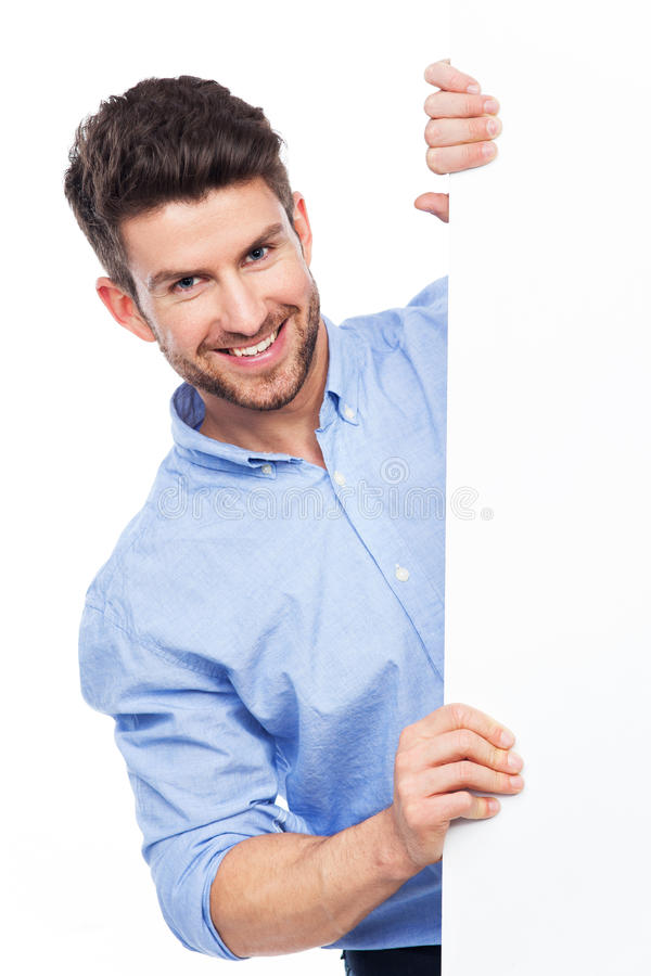 Download Jonge Mens Met Lege Affiche Stock Afbeelding - Afbeelding bestaande uit geluk, zakenman: 39100293