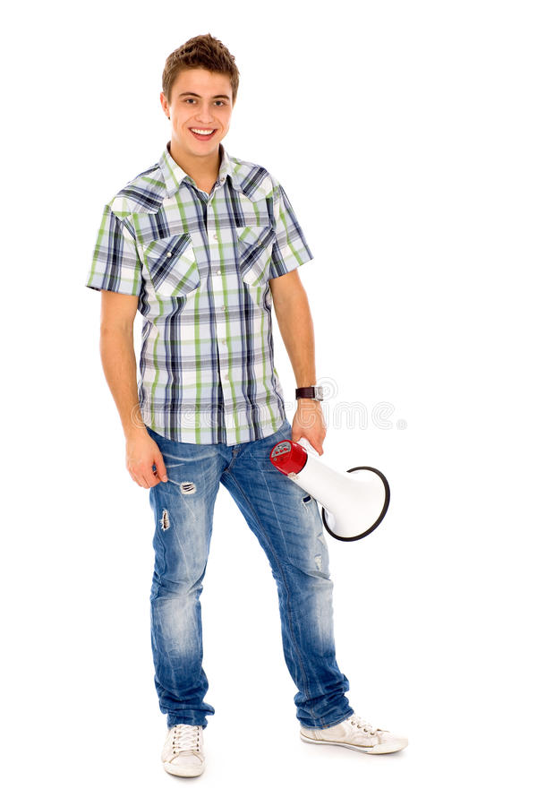 Jonge mens met Megafoon stock foto