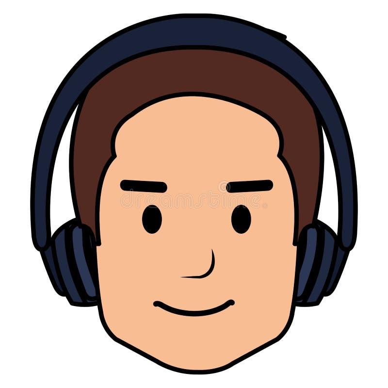 Jonge mens met oortelefoons royalty-vrije illustratie