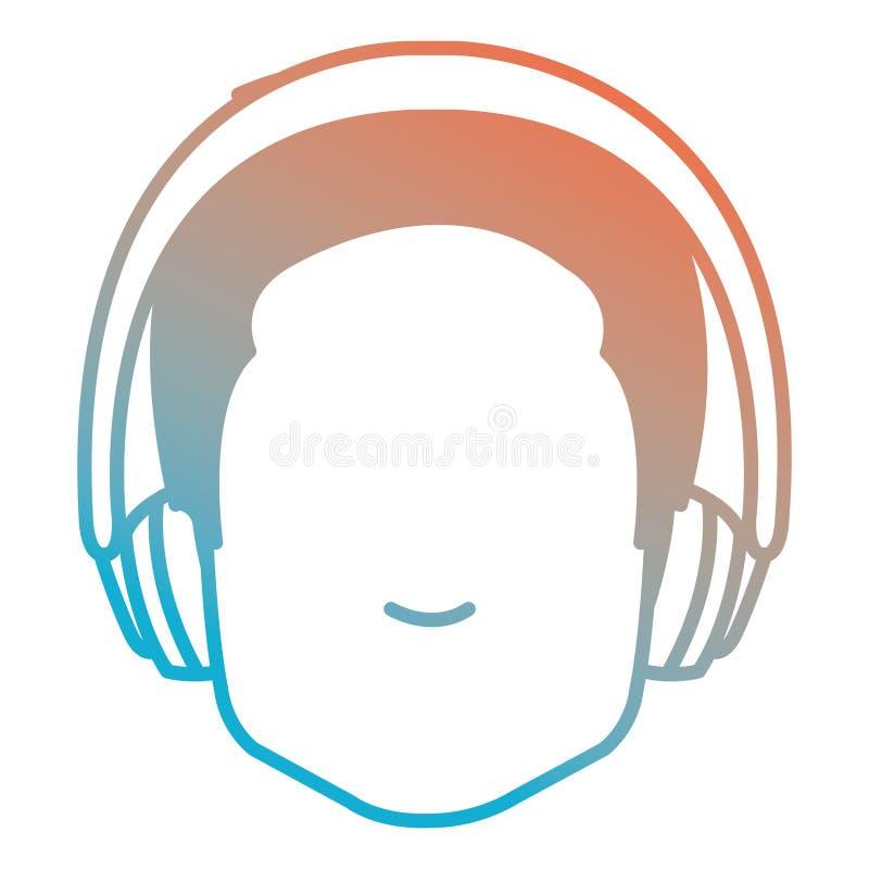 Jonge mens met oortelefoons stock illustratie