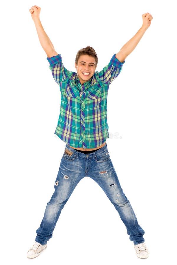 Jonge mens met opgeheven wapens stock foto