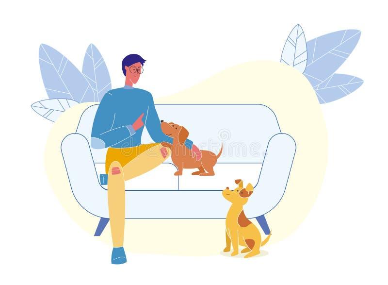 Jonge Mens met Puppy Vlakke Vectorillustratie vector illustratie
