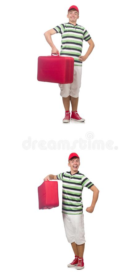 Jonge mens met rode die koffer op wit wordt ge?soleerd royalty-vrije stock foto