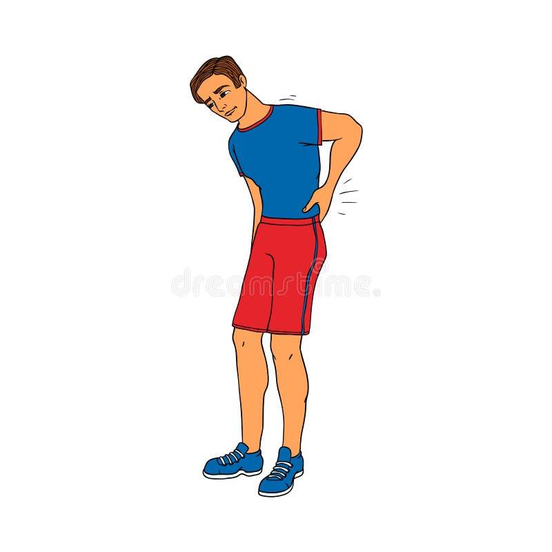 Jonge mens met rugpijn wat betreft zijn lagere die rug wegens pijn op witte achtergrond wordt geïsoleerd vector illustratie