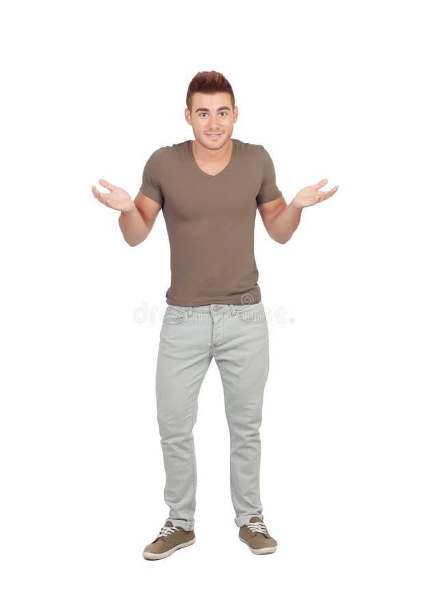 Jonge mens met twijfelachtige uitdrukking stock afbeeldingen