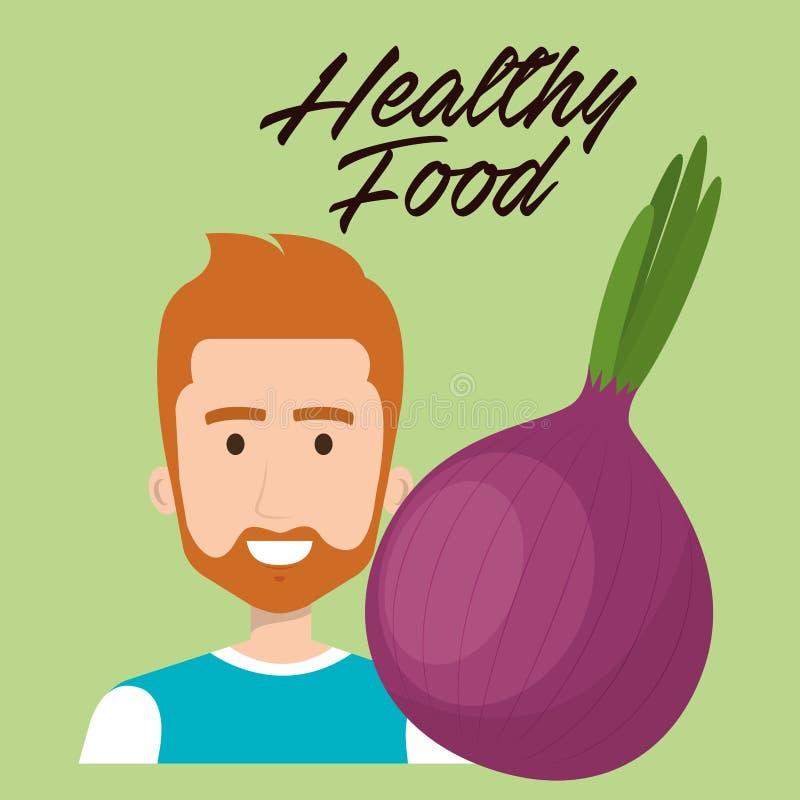 Jonge mens met ui gezond voedsel stock illustratie