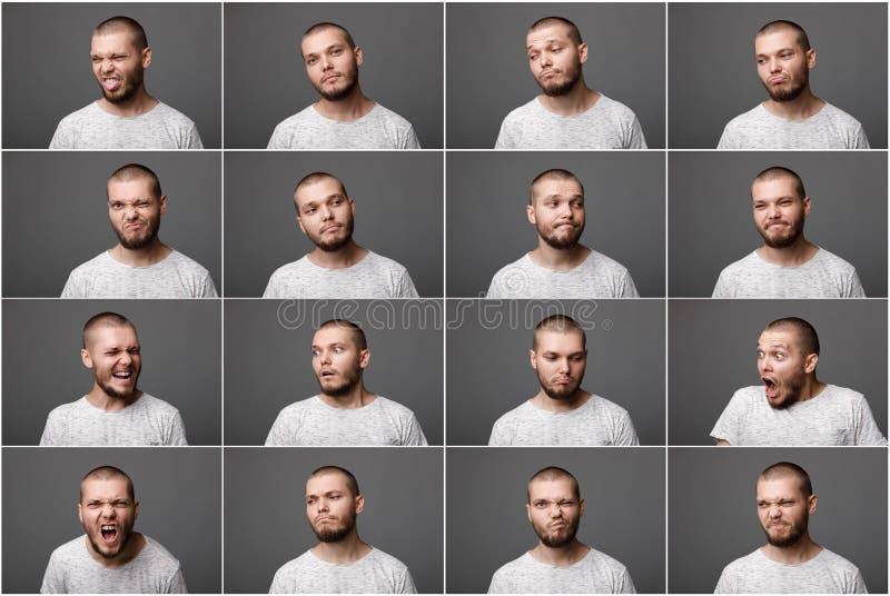 Jonge mens met verschillende negatieve emoties stock foto's