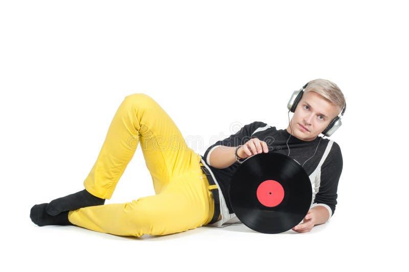 Jonge mens met vinylverslag royalty-vrije stock foto's