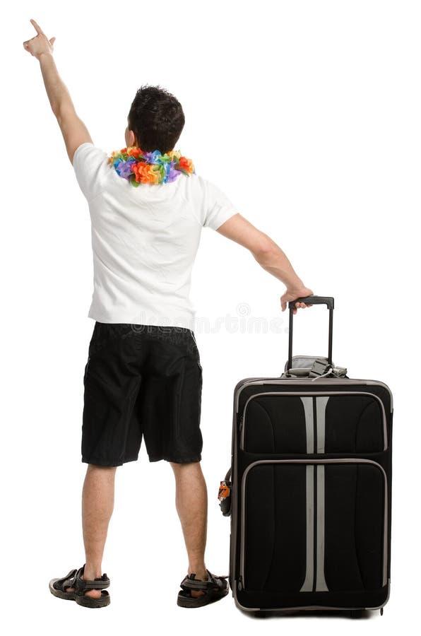 Jonge mens met zijn bagage royalty-vrije stock fotografie