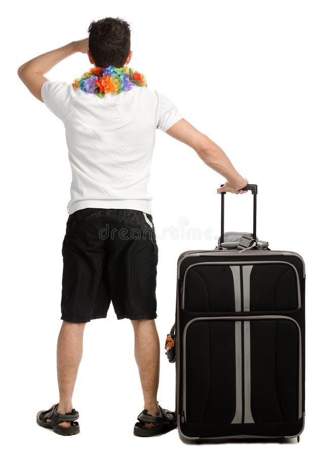 Jonge mens met zijn bagage stock afbeeldingen