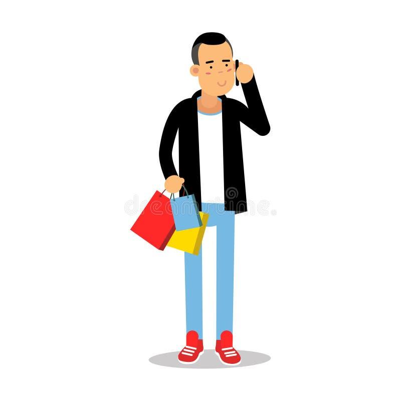 Jonge mens in modieuze kleren die zich met aankopen bevinden en op mobiele het karaktervector van het telefoonbeeldverhaal spreke royalty-vrije illustratie