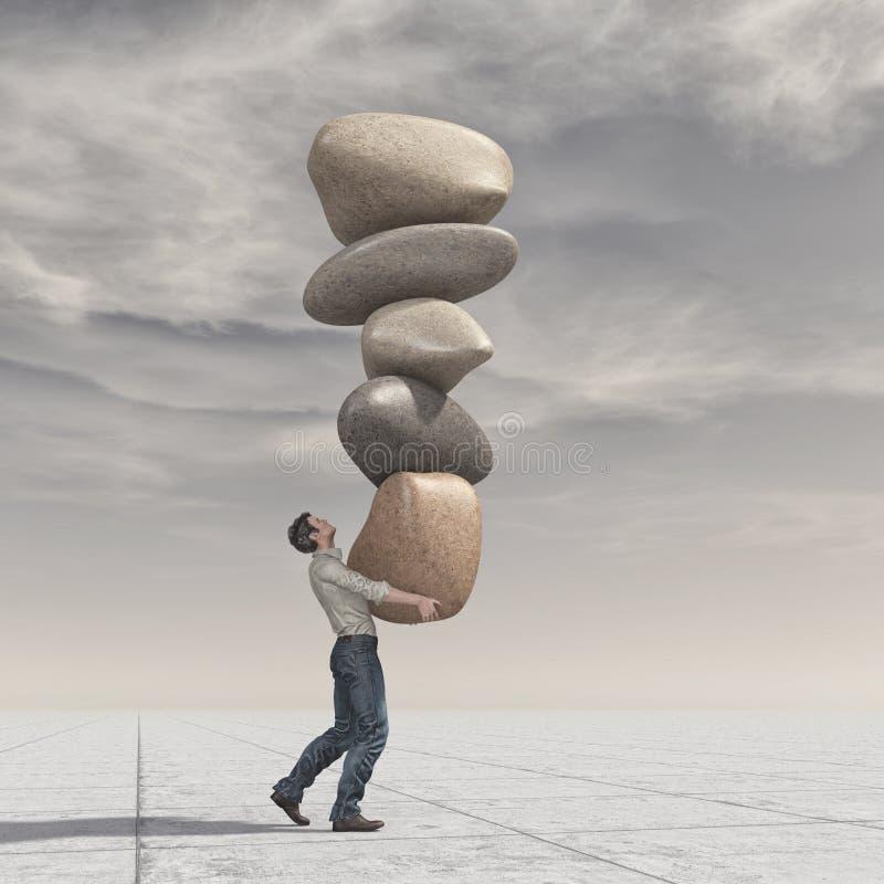 Jonge mens omhoog een stapel van stenen in evenwicht royalty-vrije illustratie