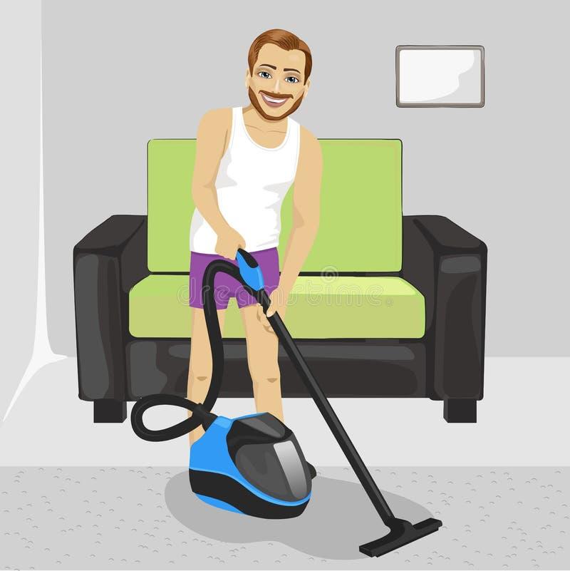 Jonge mens in ondergoed schoonmakend tapijt met stofzuiger thuis royalty-vrije illustratie