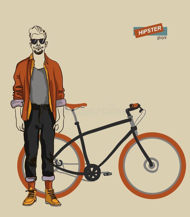 Jonge mens op een fiets stock illustratie