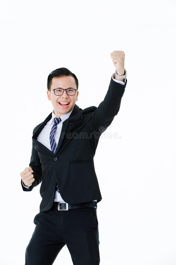Jonge mens op ge?soleerde witte achtergrond royalty-vrije stock foto