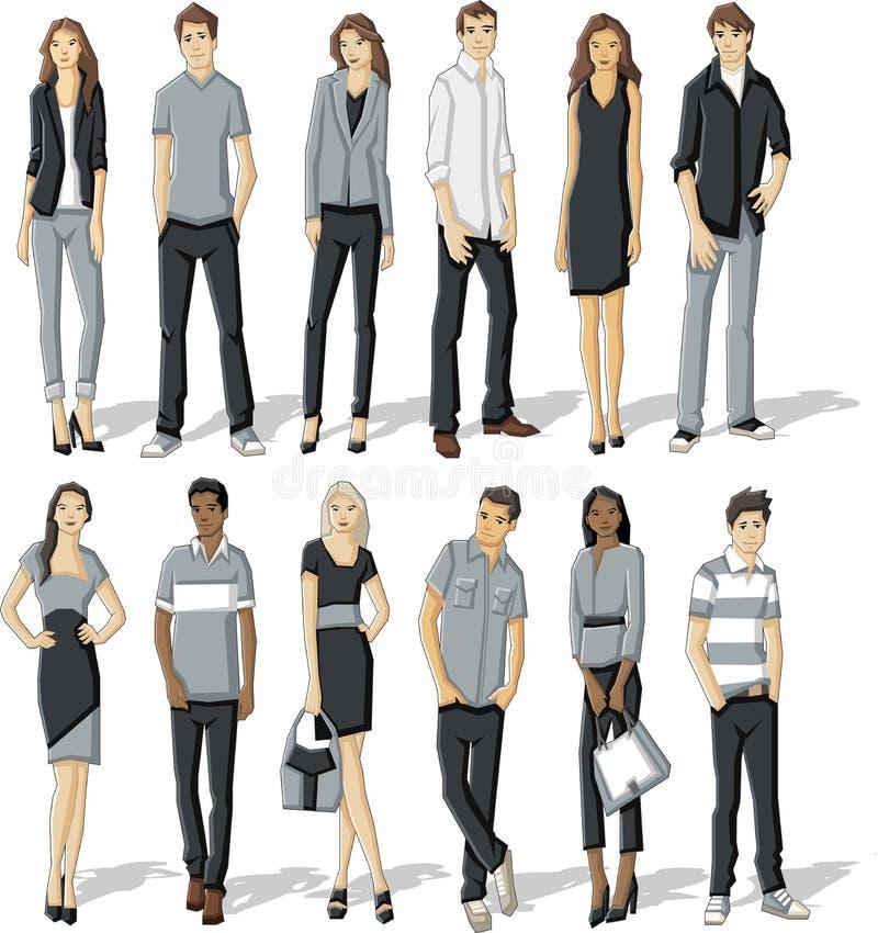 Download Jonge mensen vector illustratie. Illustratie bestaande uit kleurrijk - 54084663