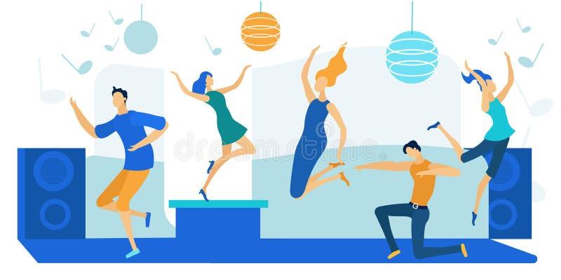 Jonge mensen dansen op Disco Party Happy Leisure royalty-vrije illustratie
