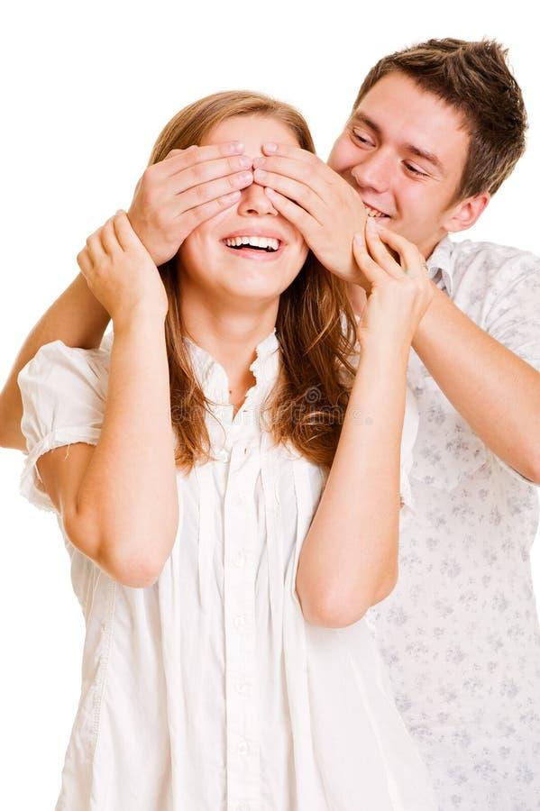 Jonge mensen dichte ogen zijn meisje stock foto's