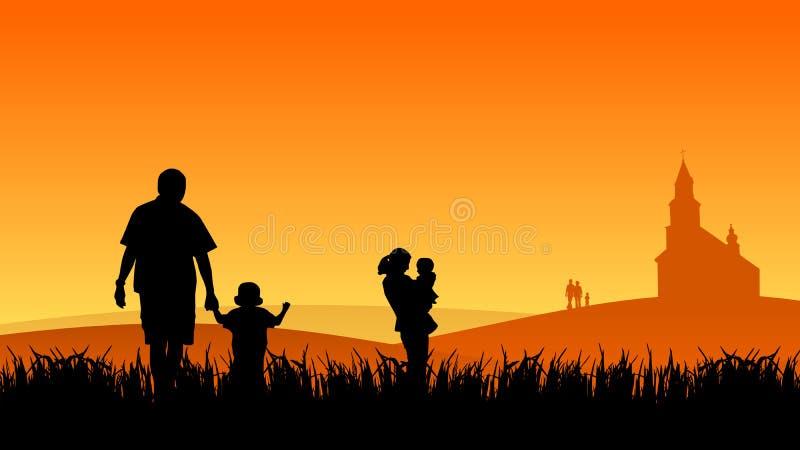 Jonge mensen met kinderen stock illustratie
